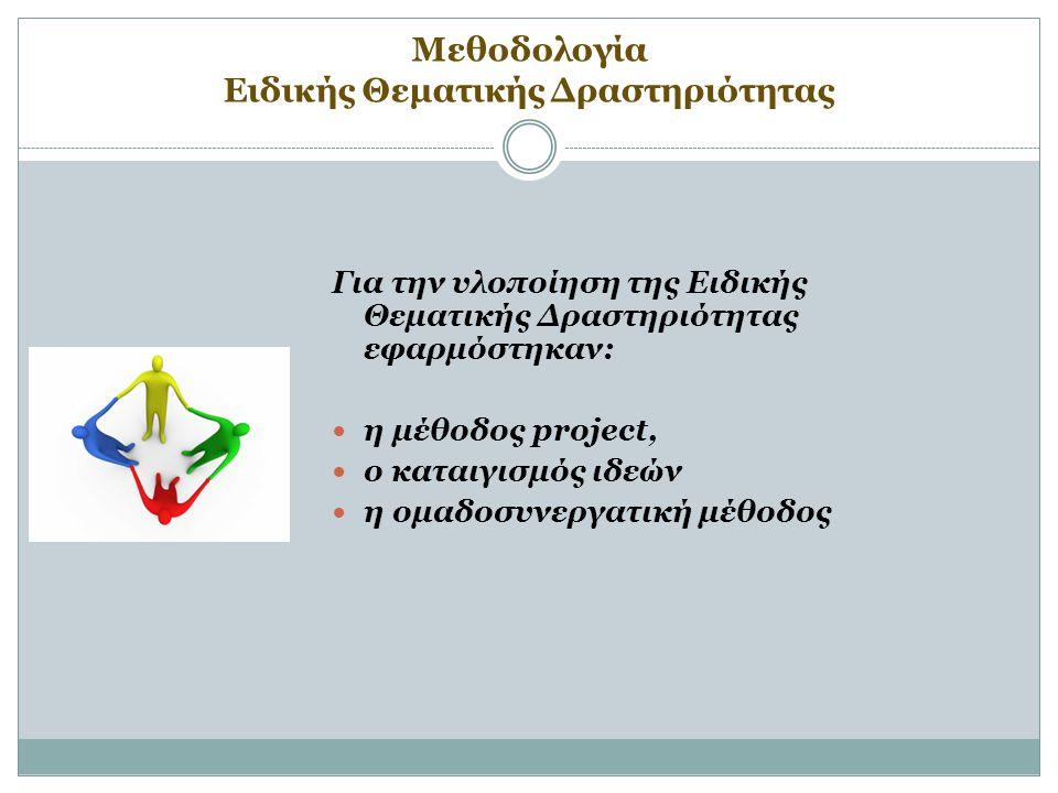 Μεθοδολογία Ειδικής Θεματικής Δραστηριότητας Για την υλοποίηση της Ειδικής Θεματικής Δραστηριότητας εφαρμόστηκαν: η μέθοδος project, ο καταιγισμός ιδεών η ομαδοσυνεργατική μέθοδος