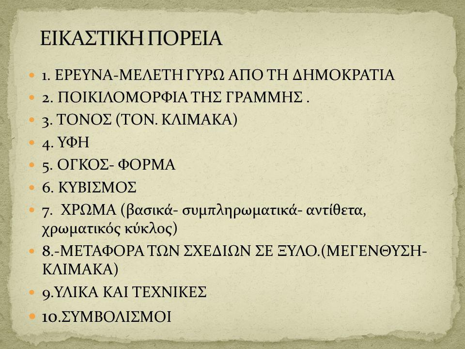 1. ΕΡΕΥΝΑ-ΜΕΛΕΤΗ ΓΥΡΩ ΑΠΟ ΤΗ ΔΗΜΟΚΡΑΤΙΑ 2. ΠΟΙΚΙΛΟΜΟΡΦΙΑ ΤΗΣ ΓΡΑΜΜΗΣ. 3. ΤΟΝΟΣ (ΤΟΝ. ΚΛΙΜΑΚΑ) 4. ΥΦΗ 5. ΟΓΚΟΣ- ΦΟΡΜΑ 6. ΚΥΒΙΣΜΟΣ 7. ΧΡΩΜΑ (βασικά- συμ