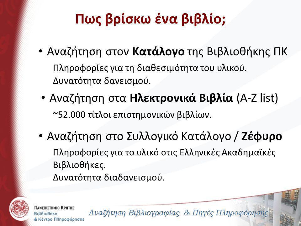 Παρουσίαση Βιβλιογραφίας Αναζήτηση Βιβλιογραφίας & Πηγές Πληροφόρησης 2.
