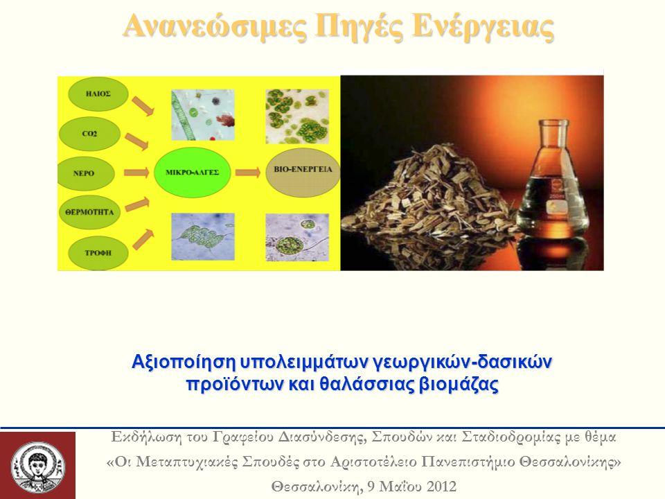 Εκδήλωση του Γραφείου Διασύνδεσης, Σπουδών και Σταδιοδρομίας με θέμα «Οι Μεταπτυχιακές Σπουδές στο Αριστοτέλειο Πανεπιστήμιο Θεσσαλονίκης» Θεσσαλονίκη, 9 Μαΐου 2012 Ανανεώσιμες Πηγές Ενέργειας Αξιοποίηση υπολειμμάτων γεωργικών-δασικών προϊόντων και θαλάσσιας βιομάζας