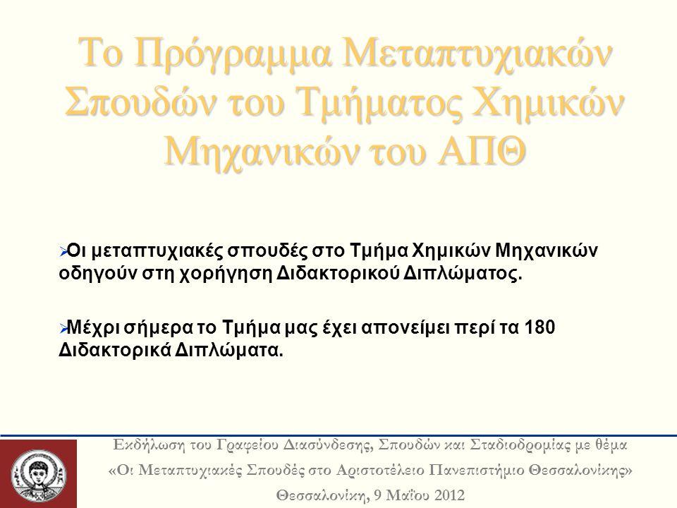 Εκδήλωση του Γραφείου Διασύνδεσης, Σπουδών και Σταδιοδρομίας με θέμα «Οι Μεταπτυχιακές Σπουδές στο Αριστοτέλειο Πανεπιστήμιο Θεσσαλονίκης» Θεσσαλονίκη, 9 Μαΐου 2012 Το Πρόγραμμα Μεταπτυχιακών Σπουδών του Τμήματος Χημικών Μηχανικών του ΑΠΘ  Οι μεταπτυχιακές σπουδές στο Τμήμα Χημικών Μηχανικών οδηγούν στη χορήγηση Διδακτορικού Διπλώματος.