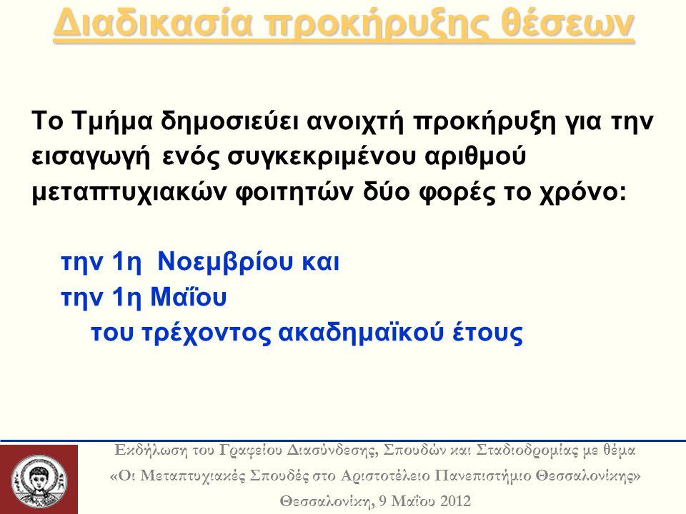 Εκδήλωση του Γραφείου Διασύνδεσης, Σπουδών και Σταδιοδρομίας με θέμα «Οι Μεταπτυχιακές Σπουδές στο Αριστοτέλειο Πανεπιστήμιο Θεσσαλονίκης» Θεσσαλονίκη, 9 Μαΐου 2012 Διαδικασία προκήρυξης θέσεων Διαδικασία προκήρυξης θέσεων Το Τμήμα δημοσιεύει ανοιχτή προκήρυξη για την εισαγωγή ενός συγκεκριμένου αριθμού μεταπτυχιακών φοιτητών δύο φορές το χρόνο: την 1η Νοεμβρίου και την 1η Μαΐου του τρέχοντος ακαδημαϊκού έτους