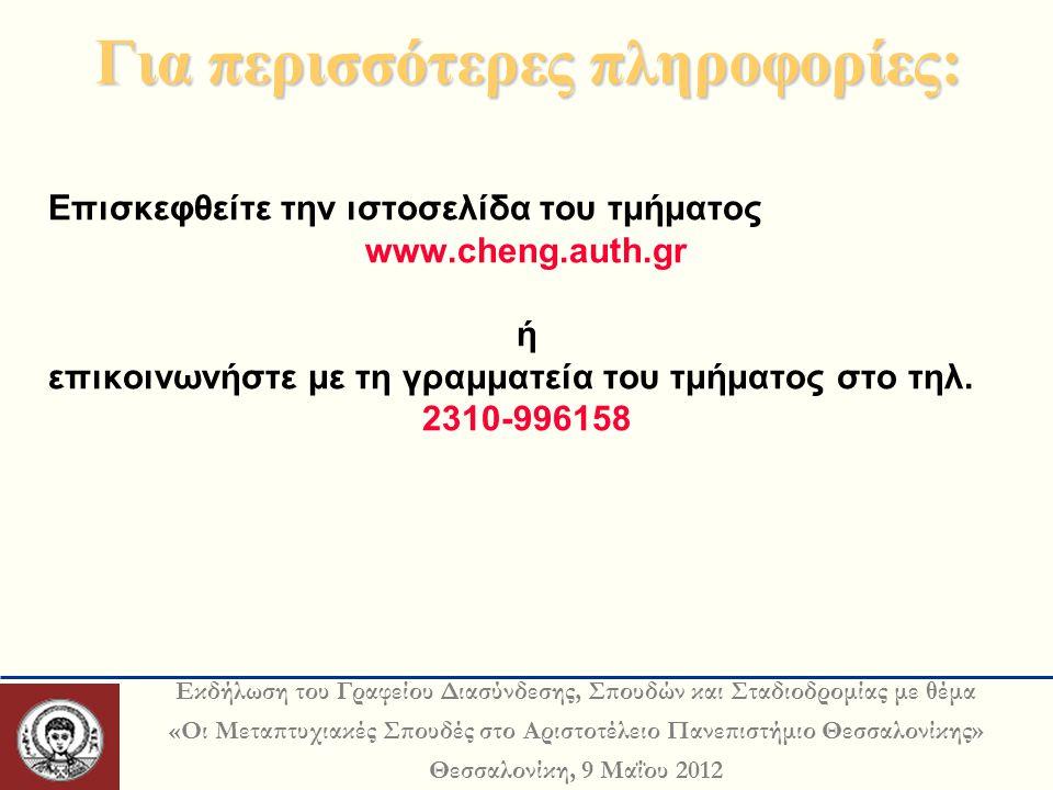 Εκδήλωση του Γραφείου Διασύνδεσης, Σπουδών και Σταδιοδρομίας με θέμα «Οι Μεταπτυχιακές Σπουδές στο Αριστοτέλειο Πανεπιστήμιο Θεσσαλονίκης» Θεσσαλονίκη, 9 Μαΐου 2012 Για περισσότερες πληροφορίες: Για περισσότερες πληροφορίες: Επισκεφθείτε την ιστοσελίδα του τμήματος www.cheng.auth.gr ή επικοινωνήστε με τη γραμματεία του τμήματος στο τηλ.
