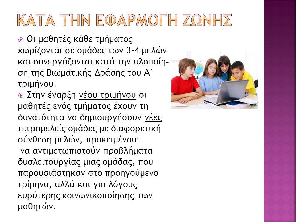  Οι μαθητές κάθε τμήματος χωρίζονται σε ομάδες των 3-4 μελών και συνεργάζονται κατά την υλοποίη - ση της Βιωματικής Δράσης του Α΄ τριμήνου.