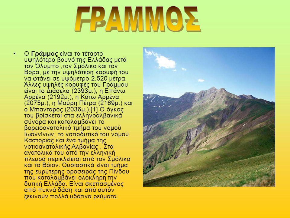 Ο Γράμμος είναι το τέταρτο υψηλότερο βουνό της Ελλάδας μετά τον Όλυμπο,τον Σμόλικα και τον Βόρα, με την υψηλότερη κορυφή του να φτάνει σε υψόμετρο 2.5