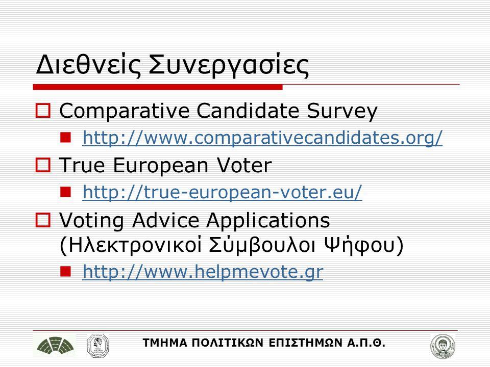 ΤΜΗΜΑ ΠΟΛΙΤΙΚΩΝ ΕΠΙΣΤΗΜΩΝ Α.Π.Θ. Διεθνείς Συνεργασίες  Comparative Candidate Survey http://www.comparativecandidates.org/  True European Voter http: