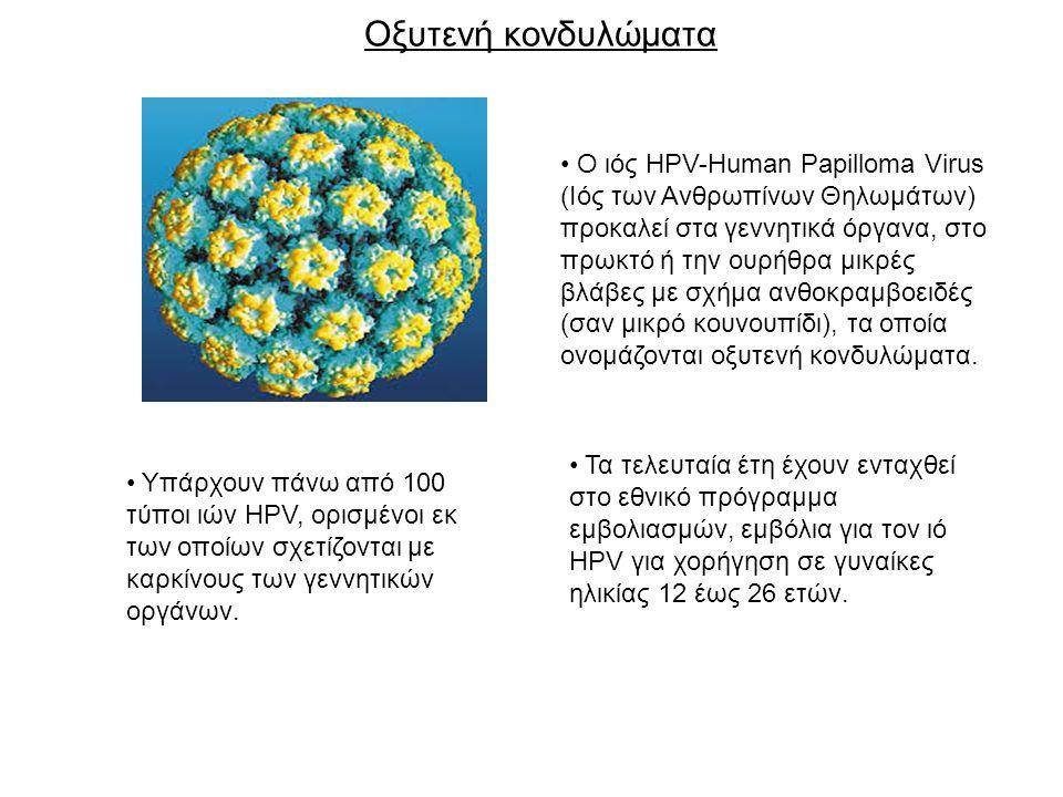 Οξυτενή κονδυλώματα Ο ιός HPV-Human Papilloma Virus (Ιός των Ανθρωπίνων Θηλωμάτων) προκαλεί στα γεννητικά όργανα, στο πρωκτό ή την ουρήθρα μικρές βλάβες με σχήμα ανθοκραμβοειδές (σαν μικρό κουνουπίδι), τα οποία ονομάζονται οξυτενή κονδυλώματα.