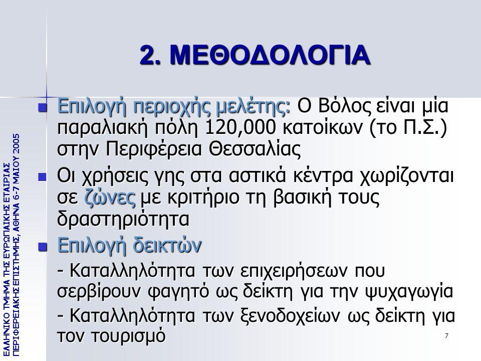 7 2. ΜΕΘΟΔΟΛΟΓΙΑ Επιλογή περιοχής μελέτης: Ο Βόλος είναι μία παραλιακή πόλη 120,000 κατοίκων (το Π.Σ.) στην Περιφέρεια Θεσσαλίας Επιλογή περιοχής μελέ