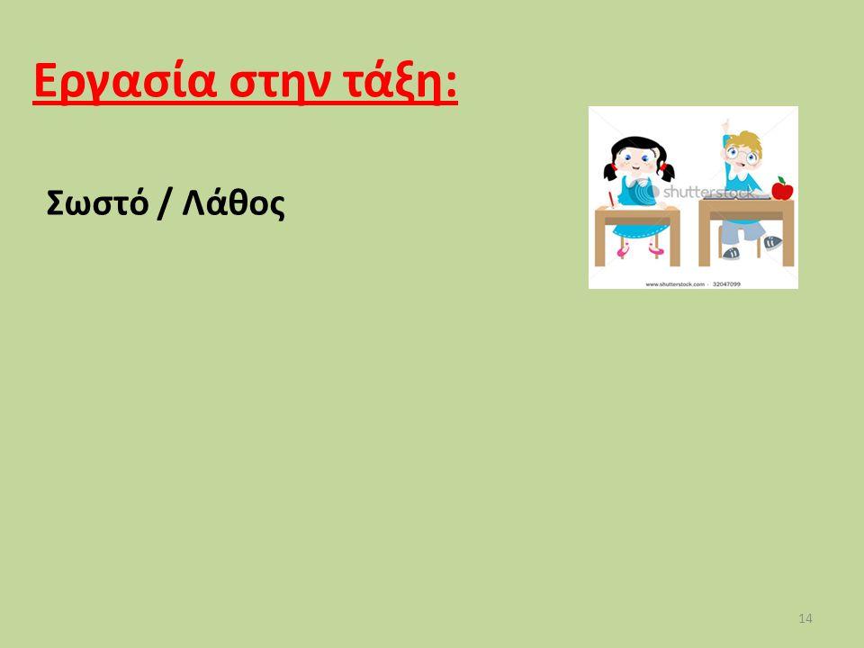Εργασία στην τάξη: Σωστό / Λάθος 14