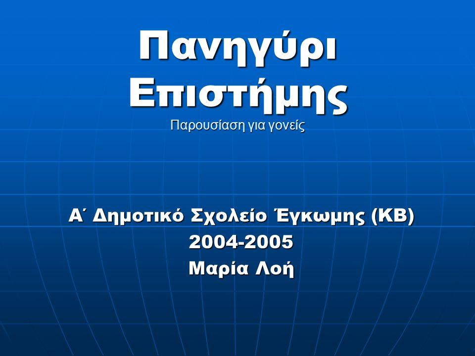 Πανηγύρι Επιστήμης Παρουσίαση για γονείς Α΄ Δημοτικό Σχολείο Έγκωμης (ΚΒ) 2004-2005 Μαρία Λοή