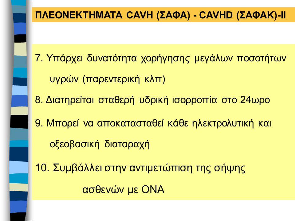 ΠΛΕΟΝΕΚΤΗΜΑΤΑ CAVH (ΣΑΦΑ) - CAVHD (ΣΑΦΑΚ)-ΙΙ 7. Υπάρχει δυνατότητα χορήγησης μεγάλων ποσοτήτων υγρών (παρεντερική κλπ) 8. Διατηρείται σταθερή υδρική ι