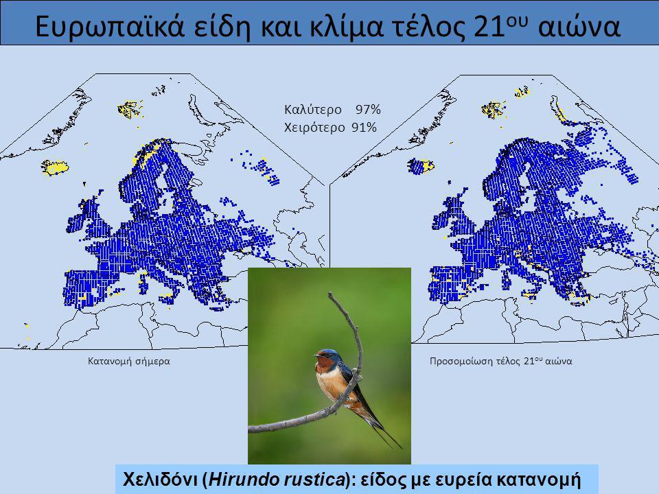 Προσομοίωση τέλος 21 ου αιώνα Καλύτερο 97% Χειρότερο 91% Κατανομή σήμερα Χελιδόνι (Hirundo rustica): είδος με ευρεία κατανομή Ευρωπαϊκά είδη και κλίμα