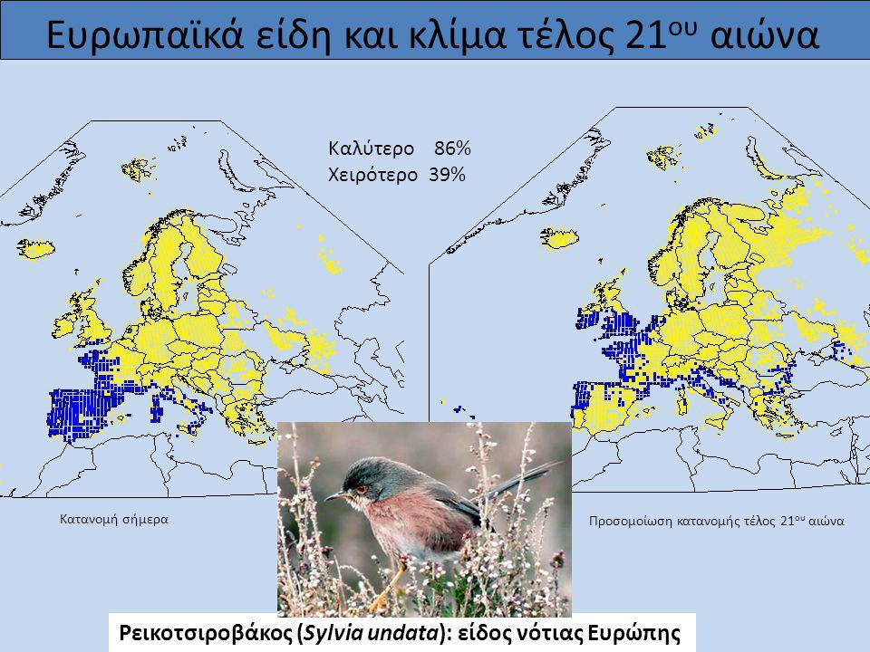 Ρεικοτσιροβάκος (Sylvia undata): είδος νότιας Ευρώπης Προσομοίωση κατανομής τέλος 21 ου αιώνα Κατανομή σήμερα Καλύτερο 86% Χειρότερο 39%