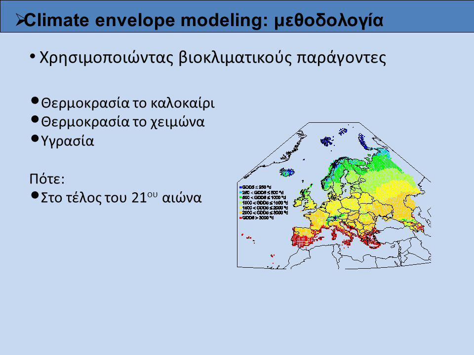  Climate envelope modeling: μεθοδολογία Χρησιμοποιώντας βιοκλιματικούς παράγοντες Θερμοκρασία το καλοκαίρι Θερμοκρασία το χειμώνα Υγρασία Πότε: Στο τ