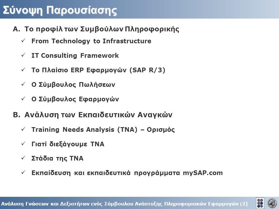 2] Ανάλυση Γνώσεων και Δεξιοτήτων ενός Σύμβουλου Ανάπτυξης Πληροφοριακών Εφαρμογών [ 2] A.To προφίλ των Συμβούλων Πληροφορικής From Technology to Infrastructure IT Consulting Framework To Πλαίσιο ERP Εφαρμογών (SAP R/3) Ο Σύμβουλος Πωλήσεων Ο Σύμβουλος Εφαρμογών B.Ανάλυση των Eκπαιδευτικών Αναγκών Training Needs Analysis (ΤΝΑ) – Ορισμός Γιατί διεξάγουμε ΤΝΑ Στάδια της ΤΝΑ Εκπαίδευση και εκπαιδευτικά προγράμματα mySAP.com Σύνοψη Παρουσίασης