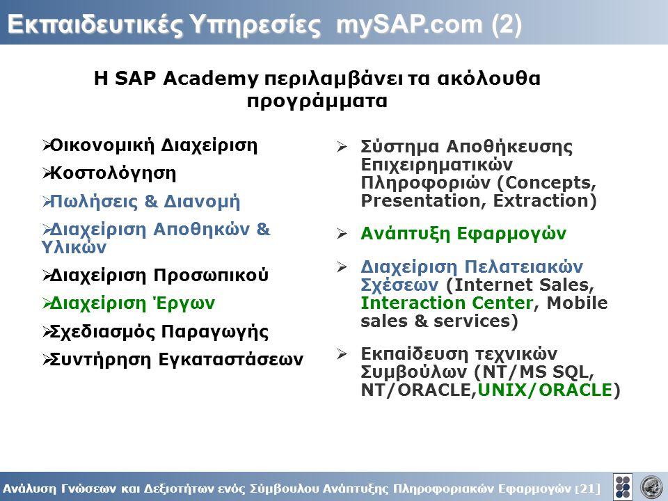 21] Ανάλυση Γνώσεων και Δεξιοτήτων ενός Σύμβουλου Ανάπτυξης Πληροφοριακών Εφαρμογών [ 21] Εκπαιδευτικές Υπηρεσίες mySAP.com (2)  Οικονομική Διαχείριση  Κοστολόγηση  Πωλήσεις & Διανομή  Διαχείριση Αποθηκών & Υλικών  Διαχείριση Προσωπικού  Διαχείριση Έργων  Σχεδιασμός Παραγωγής  Συντήρηση Εγκαταστάσεων  Σύστημα Αποθήκευσης Επιχειρηματικών Πληροφοριών (Concepts, Presentation, Extraction)  Ανάπτυξη Εφαρμογών  Διαχείριση Πελατειακών Σχέσεων (Internet Sales, Interaction Center, Mobile sales & services)  Εκπαίδευση τεχνικών Συμβούλων (NT/MS SQL, NT/ORACLE,UNIX/ORACLE) Η SAP Academy περιλαμβάνει τα ακόλουθα προγράμματα