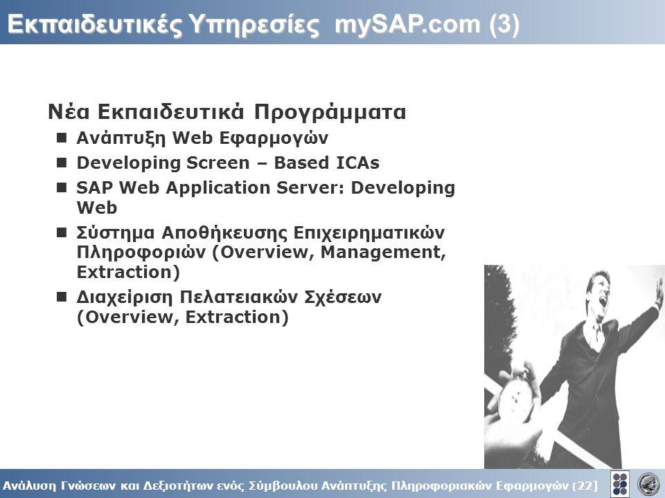 22] Ανάλυση Γνώσεων και Δεξιοτήτων ενός Σύμβουλου Ανάπτυξης Πληροφοριακών Εφαρμογών [ 22] Εκπαιδευτικές Υπηρεσίες mySAP.com (3) Νέα Εκπαιδευτικά Προγράμματα Ανάπτυξη Web Εφαρμογών Developing Screen – Based ICAs SAP Web Application Server: Developing Web Σύστημα Αποθήκευσης Επιχειρηματικών Πληροφοριών (Overview, Management, Extraction) Διαχείριση Πελατειακών Σχέσεων (Overview, Extraction)