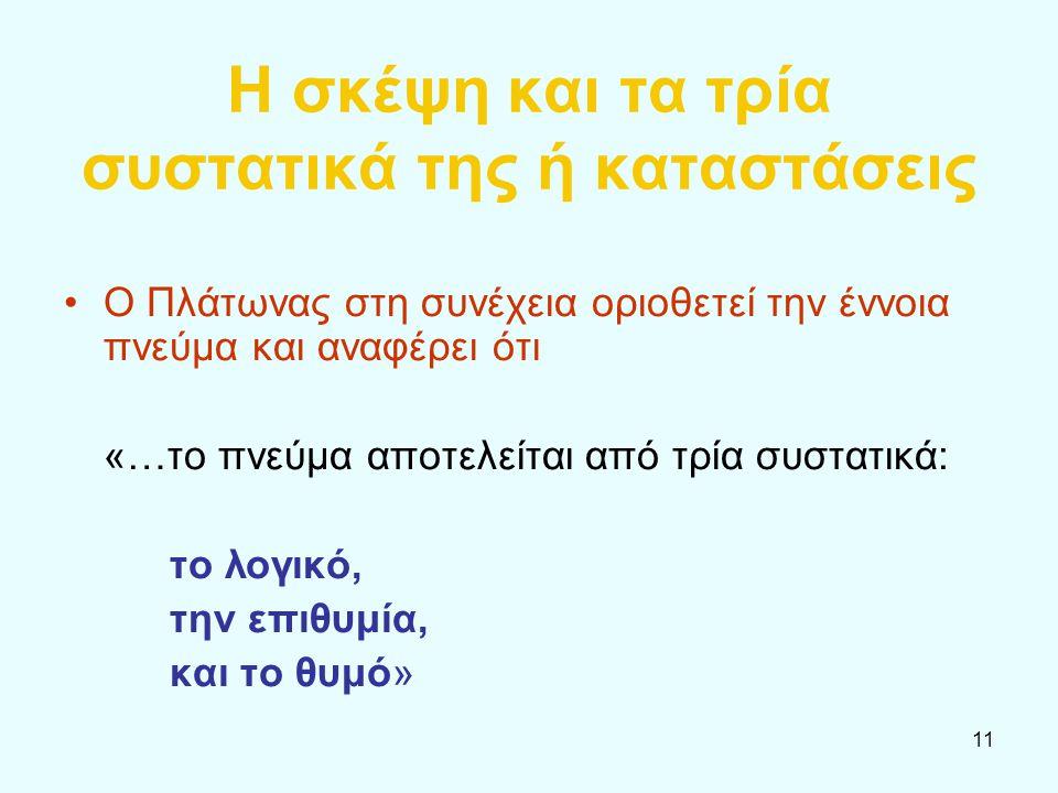 11 Η σκέψη και τα τρία συστατικά της ή καταστάσεις Ο Πλάτωνας στη συνέχεια οριοθετεί την έννοια πνεύμα και αναφέρει ότι «…το πνεύμα αποτελείται από τρ