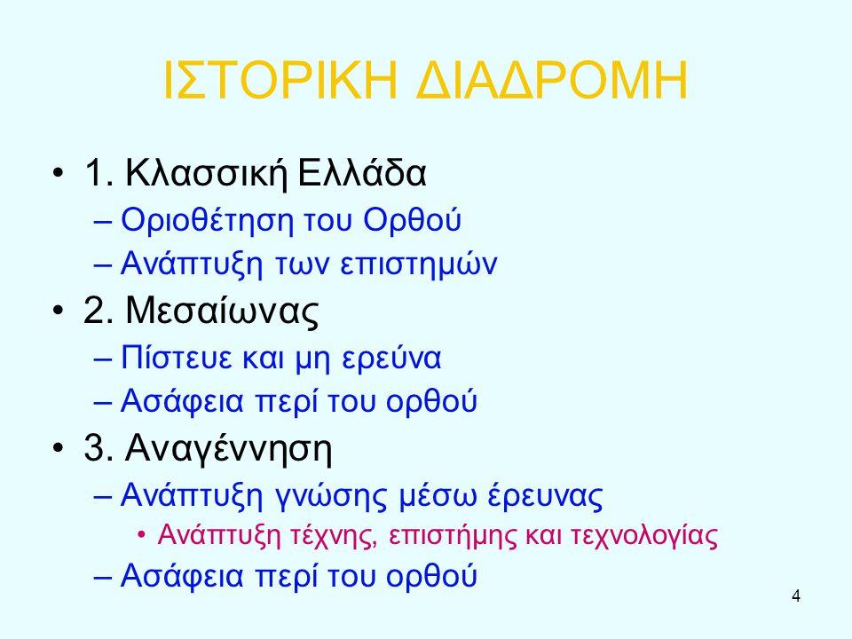4 ΙΣΤΟΡΙΚΗ ΔΙΑΔΡΟΜΗ 1. Κλασσική Ελλάδα –Οριοθέτηση του Ορθού –Ανάπτυξη των επιστημών 2. Μεσαίωνας –Πίστευε και μη ερεύνα –Ασάφεια περί του ορθού 3. Αν