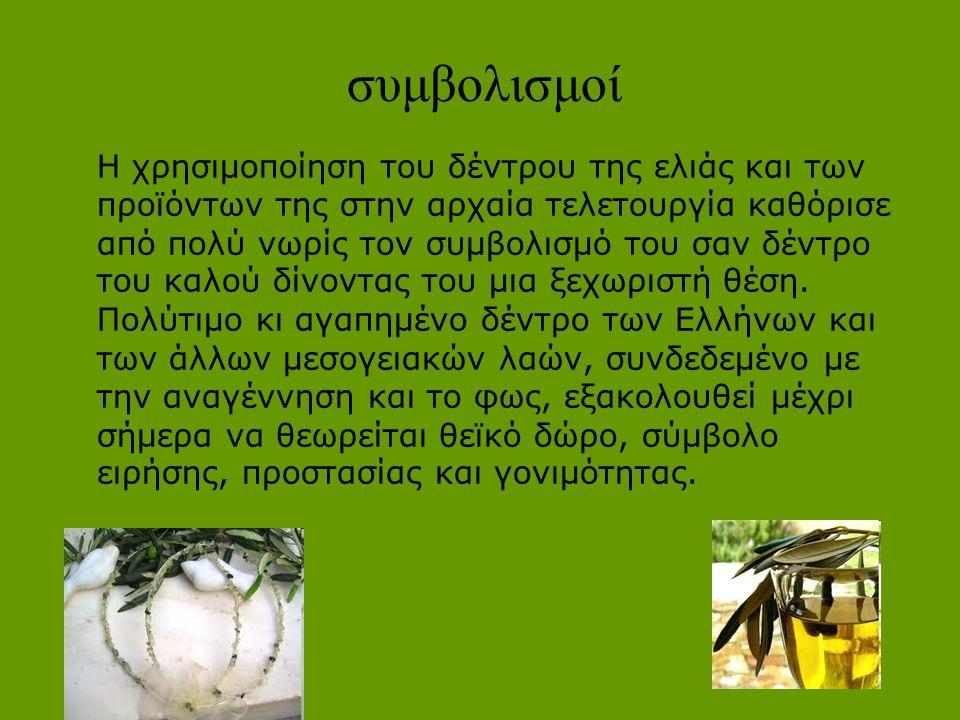 συμβολισμοί Η χρησιμοποίηση του δέντρου της ελιάς και των προϊόντων της στην αρχαία τελετουργία καθόρισε από πολύ νωρίς τον συμβολισμό του σαν δέντρο