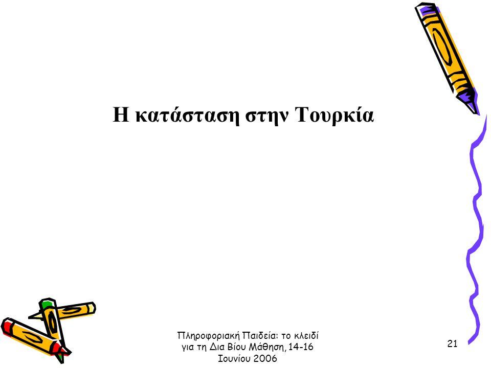 Πληροφοριακή Παιδεία: το κλειδί για τη Δια Βίου Μάθηση, 14-16 Ιουνίου 2006 21 Η κατάσταση στην Τουρκία