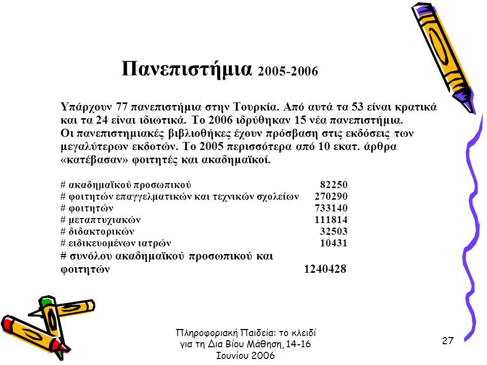 Πληροφοριακή Παιδεία: το κλειδί για τη Δια Βίου Μάθηση, 14-16 Ιουνίου 2006 27 Πανεπιστήμια 2005-2006 Υπάρχουν 77 πανεπιστήμια στην Τουρκία.