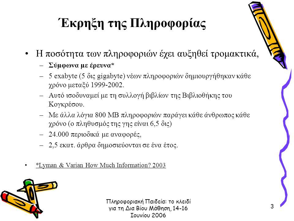 Πληροφοριακή Παιδεία: το κλειδί για τη Δια Βίου Μάθηση, 14-16 Ιουνίου 2006 3 Έκρηξη της Πληροφορίας Η ποσότητα των πληροφοριών έχει αυξηθεί τρομακτικά, –Σύμφωνα με έρευνα* –5 exabyte (5 δις gigabyte) νέων πληροφοριών δημιουργήθηκαν κάθε χρόνο μεταξύ 1999-2002.