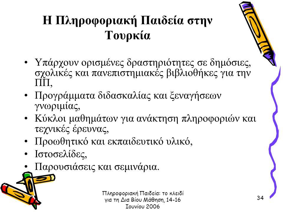 Πληροφοριακή Παιδεία: το κλειδί για τη Δια Βίου Μάθηση, 14-16 Ιουνίου 2006 34 Η Πληροφοριακή Παιδεία στην Τουρκία Υπάρχουν ορισμένες δραστηριότητες σε δημόσιες, σχολικές και πανεπιστημιακές βιβλιοθήκες για την ΠΠ, Προγράμματα διδασκαλίας και ξεναγήσεων γνωριμίας, Κύκλοι μαθημάτων για ανάκτηση πληροφοριών και τεχνικές έρευνας, Προωθητικό και εκπαιδευτικό υλικό, Ιστοσελίδες, Παρουσιάσεις και σεμινάρια.