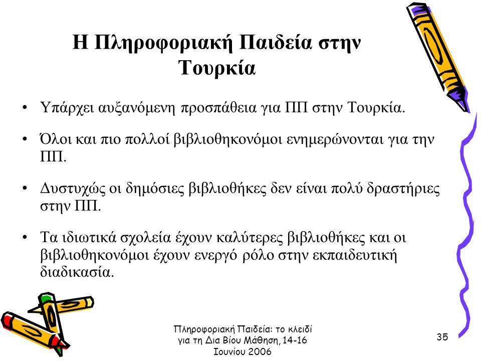 Πληροφοριακή Παιδεία: το κλειδί για τη Δια Βίου Μάθηση, 14-16 Ιουνίου 2006 35 Η Πληροφοριακή Παιδεία στην Τουρκία Υπάρχει αυξανόμενη προσπάθεια για ΠΠ στην Τουρκία.