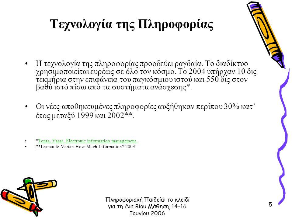 Πληροφοριακή Παιδεία: το κλειδί για τη Δια Βίου Μάθηση, 14-16 Ιουνίου 2006 5 Τεχνολογία της Πληροφορίας Η τεχνολογία της πληροφορίας προοδεύει ραγδαία