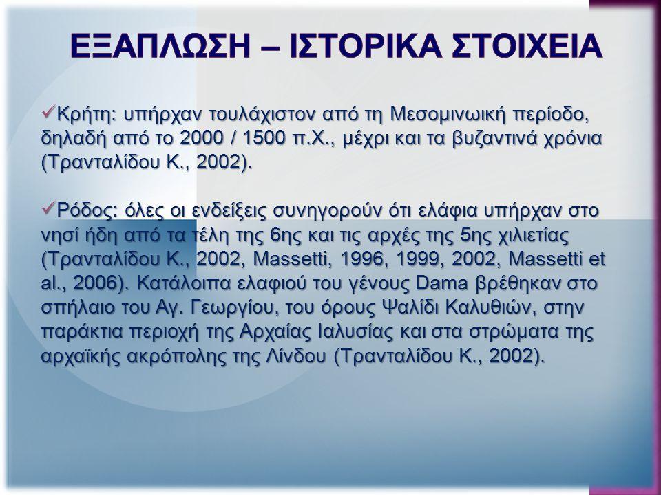 Κρήτη: υπήρχαν τουλάχιστον από τη Μεσομινωική περίοδο, δηλαδή από το 2000 / 1500 π.Χ., μέχρι και τα βυζαντινά χρόνια (Τρανταλίδου Κ., 2002).