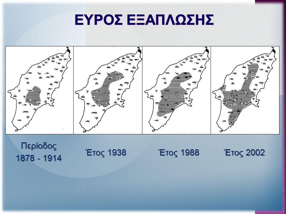 Εξάπλωση των πλατωνιών τα έτη 2002 και 2008