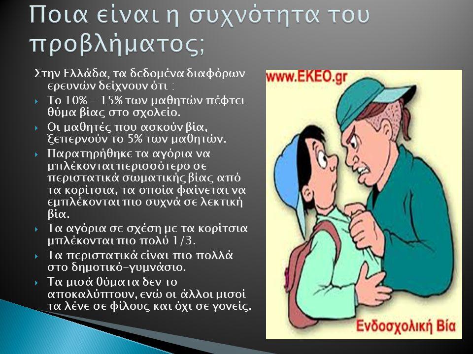 Στην Ελλάδα, τα δεδομένα διαφόρων ερευνών δείχνουν ότι :  Το 10% - 15% των μαθητών πέφτει θύμα βίας στο σχολείο.