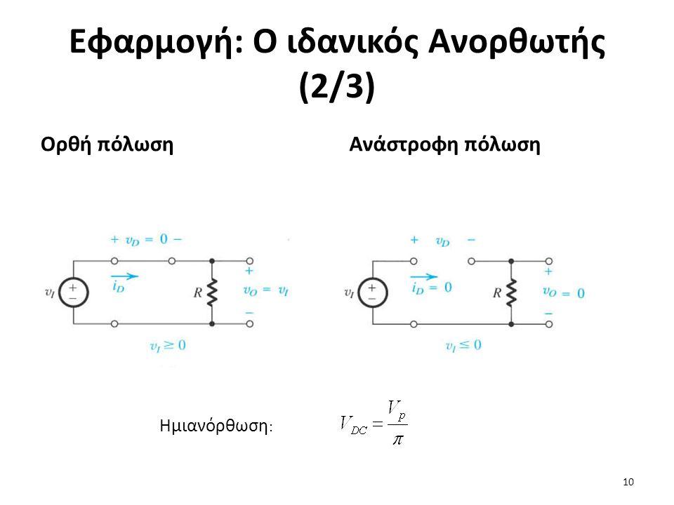 Εφαρμογή: Ο ιδανικός Ανορθωτής (2/3) Ορθή πόλωσηΑνάστροφη πόλωση Ημιανόρθωση : 10