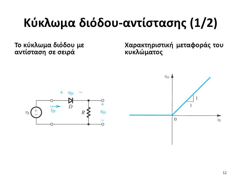 Κύκλωμα διόδου-αντίστασης (1/2) Το κύκλωμα διόδου με αντίσταση σε σειρά Χαρακτηριστική μεταφοράς του κυκλώματος 12