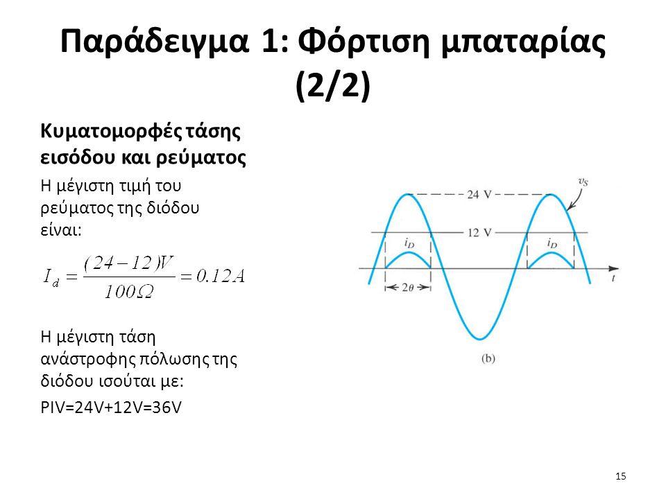 Παράδειγμα 1: Φόρτιση μπαταρίας (2/2) Κυματομορφές τάσης εισόδου και ρεύματος Η μέγιστη τιμή του ρεύματος της διόδου είναι: Η μέγιστη τάση ανάστροφης πόλωσης της διόδου ισούται με: PIV=24V+12V=36V 15