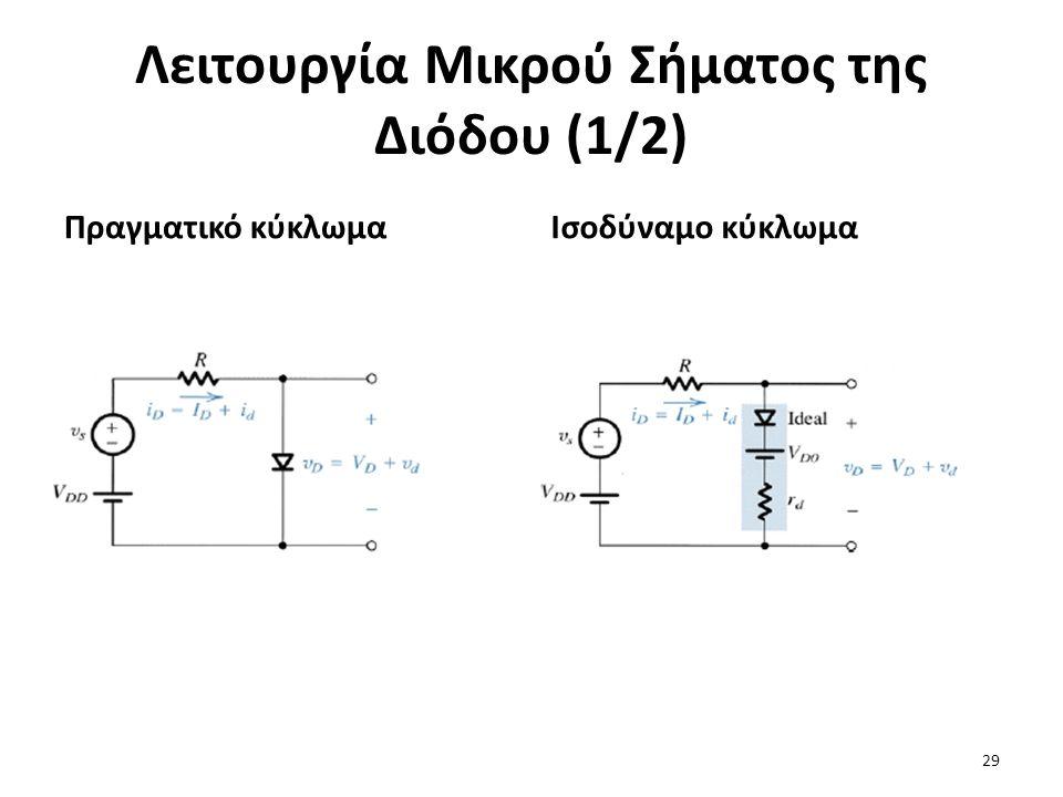 Λειτουργία Μικρού Σήματος της Διόδου (1/2) Πραγματικό κύκλωμαΙσοδύναμο κύκλωμα 29