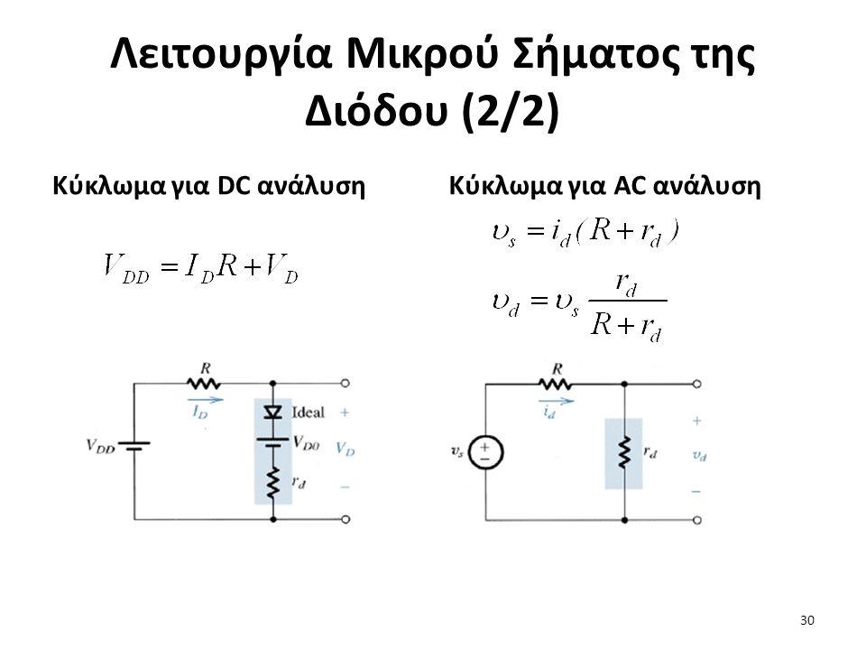 Λειτουργία Μικρού Σήματος της Διόδου (2/2) Κύκλωμα για DC ανάλυσηΚύκλωμα για AC ανάλυση 30