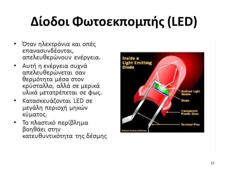 Δίοδοι Φωτοεκπομπής (LED) Όταν ηλεκτρόνια και οπές επανασυνδέονται, απελευθερώνουν ενέργεια.