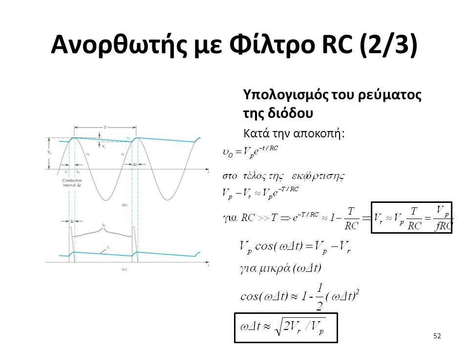 Ανορθωτής με Φίλτρο RC (2/3) Υπολογισμός του ρεύματος της διόδου Κατά την αποκοπή: 52