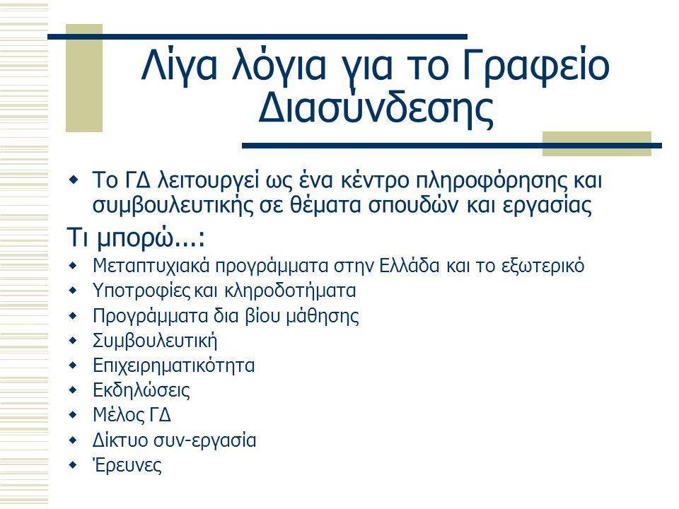 Λίγα λόγια για το Γραφείο Διασύνδεσης  Το ΓΔ λειτουργεί ως ένα κέντρο πληροφόρησης και συμβουλευτικής σε θέματα σπουδών και εργασίας Τι μπορώ...:  Μεταπτυχιακά προγράμματα στην Ελλάδα και το εξωτερικό  Υποτροφίες και κληροδοτήματα  Προγράμματα δια βίου μάθησης  Συμβουλευτική  Επιχειρηματικότητα  Εκδηλώσεις  Μέλος ΓΔ  Δίκτυο συν-εργασία  Έρευνες