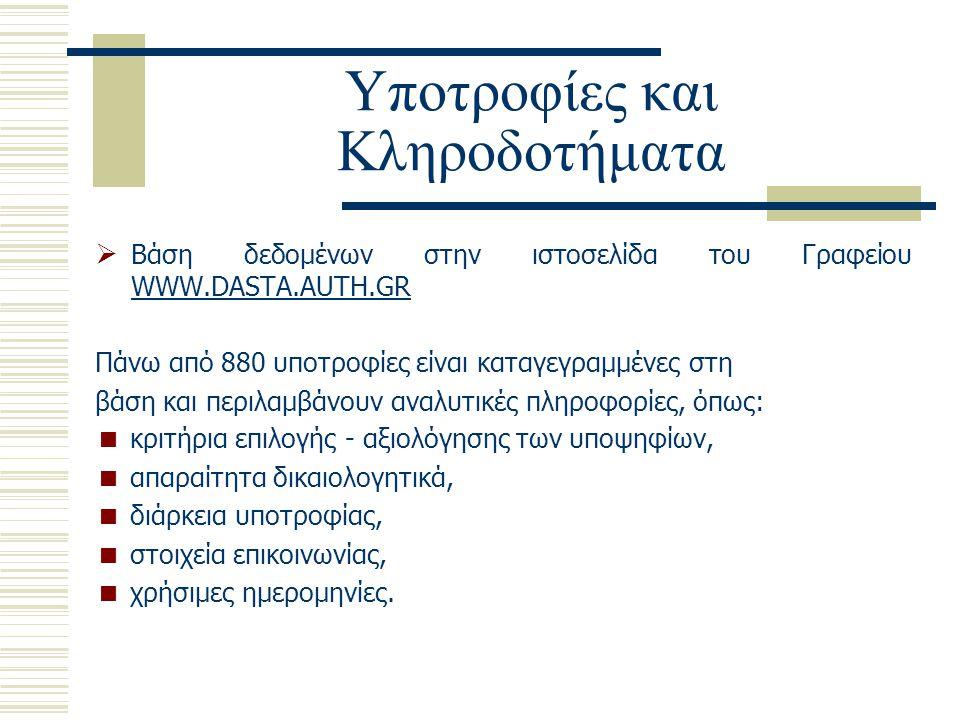 Υποτροφίες και Κληροδοτήματα  Βάση δεδομένων στην ιστοσελίδα του Γραφείου WWW.DASTA.AUTH.GR Πάνω από 880 υποτροφίες είναι καταγεγραμμένες στη βάση κα