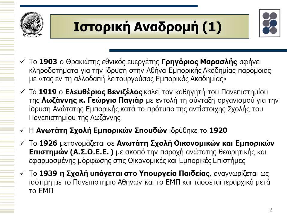 2 Ιστορική Αναδρομή (1) Το 1903 ο Θρακιώτης εθνικός ευεργέτης Γρηγόριος Μαρασλής αφήνει κληροδοτήματα για την ίδρυση στην Αθήνα Εμπορικής Ακαδημίας πα
