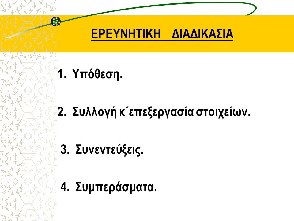 ΕΡΕΥΝΗΤΙΚΗ ΔΙΑΔΙΚΑΣΙΑ 1. Υπόθεση. 2. Συλλογή κ΄επεξεργασία στοιχείων. 3. Συνεντεύξεις. 4. Συμπεράσματα.