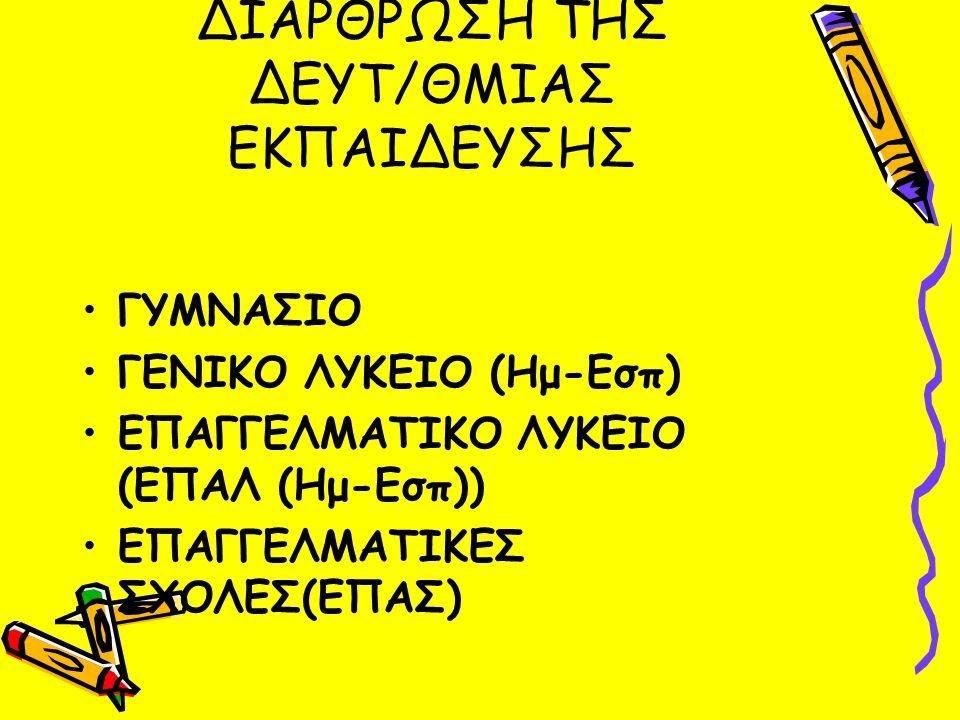 ΔΙΑΡΘΡΩΣΗ ΤΗΣ ΔΕΥΤ/ΘΜΙΑΣ ΕΚΠΑΙΔΕΥΣΗΣ ΓΥΜΝΑΣΙΟ ΓΕΝΙΚΟ ΛΥΚΕΙΟ (Ημ-Εσπ) ΕΠΑΓΓΕΛΜΑΤΙΚΟ ΛΥΚΕΙΟ (ΕΠΑΛ (Ημ-Εσπ)) ΕΠΑΓΓΕΛΜΑΤΙΚΕΣ ΣΧΟΛΕΣ(ΕΠΑΣ)
