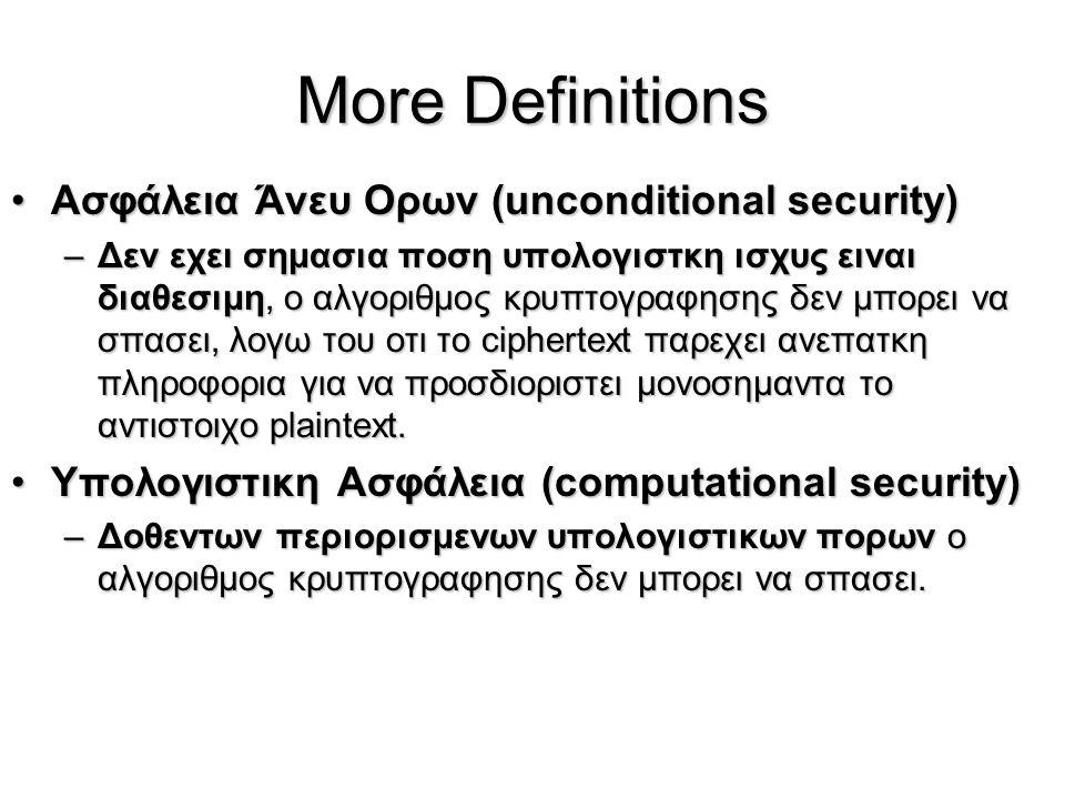 More Definitions Aσφάλεια Άνευ Ορων (unconditional security)Aσφάλεια Άνευ Ορων (unconditional security) –Δεν εχει σημασια ποση υπολογιστκη ισχυς ειναι