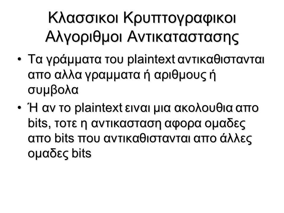 Κλασσικοι Κρυπτογραφικοι Αλγοριθμοι Αντικαταστασης Τα γράμματα του plaintext αντικαθιστανται απο αλλα γραμματα ή αριθμους ή συμβολαΤα γράμματα του pla