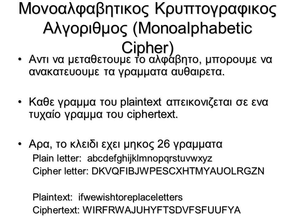 Μονοαλφαβητικος Κρυπτογραφικος Αλγοριθμος (Monoalphabetic Cipher) Αντι να μεταθετουμε το αλφαβητο, μπορουμε να ανακατευουμε τα γραμματα αυθαιρετα.Αντι