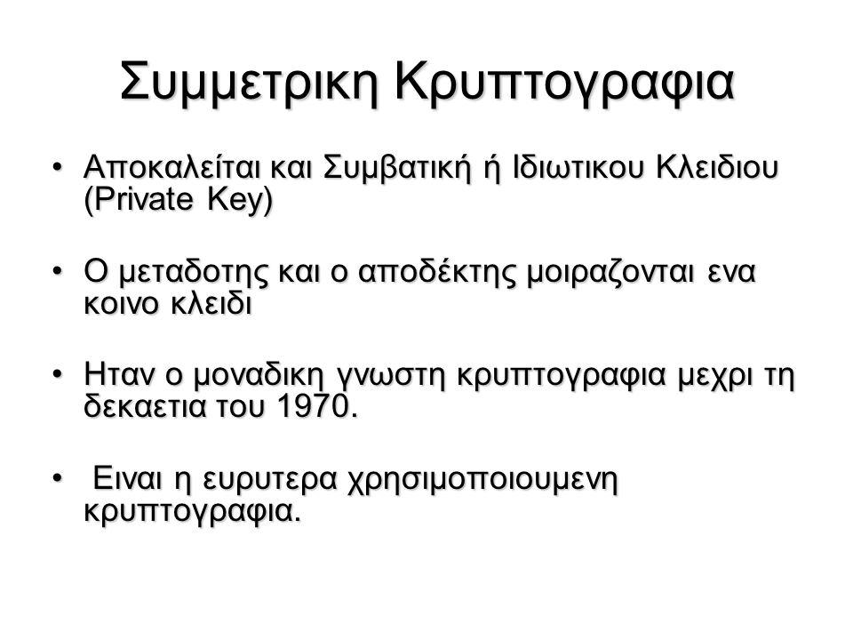 Ορολογια Απλο κειμενο (plaintext) – το μη κρυπτογραφημενο μηνυμαΑπλο κειμενο (plaintext) – το μη κρυπτογραφημενο μηνυμα Κρυπτογραφημενο Κειμενο (ciphertext) – το κρυπτογραφημενο μηνυμαΚρυπτογραφημενο Κειμενο (ciphertext) – το κρυπτογραφημενο μηνυμα Αλγοριθμος κρυπτογραφησης (cipher) - Μετατρεπει το plaintext σε ciphertextΑλγοριθμος κρυπτογραφησης (cipher) - Μετατρεπει το plaintext σε ciphertext Kλειδι (key) – πληροφορια που χρησιμοποιείται απο τον αλγοριθμο κρυπτογραφησης και ειναι γνωστη μονο στο μεταδοτη και τον αποδεκτηKλειδι (key) – πληροφορια που χρησιμοποιείται απο τον αλγοριθμο κρυπτογραφησης και ειναι γνωστη μονο στο μεταδοτη και τον αποδεκτη Kρυπτογραφηση (encryption, enciphering) – η μετατροπη του plaintext σε ciphertextKρυπτογραφηση (encryption, enciphering) – η μετατροπη του plaintext σε ciphertext Αποκρυπτογραφηση (decryprion, deciphering) – η μετατροπη του ciphertext σε plaintextΑποκρυπτογραφηση (decryprion, deciphering) – η μετατροπη του ciphertext σε plaintext Κρυπτογραφια (cryptography) – η μελετη των μεθοδων κρυπτογραφησης και των αρχων της κρυπτογραφης και των αρχων που τις διεπουνΚρυπτογραφια (cryptography) – η μελετη των μεθοδων κρυπτογραφησης και των αρχων της κρυπτογραφης και των αρχων που τις διεπουν Κρυπταναλυση (cryptanalysis) – μελετη των αρχων και των μεθοδων που αποσκοπουν στην αποκρυπτογραφηση χωρις να ειναι γνωστο το κλειδι.Κρυπταναλυση (cryptanalysis) – μελετη των αρχων και των μεθοδων που αποσκοπουν στην αποκρυπτογραφηση χωρις να ειναι γνωστο το κλειδι.