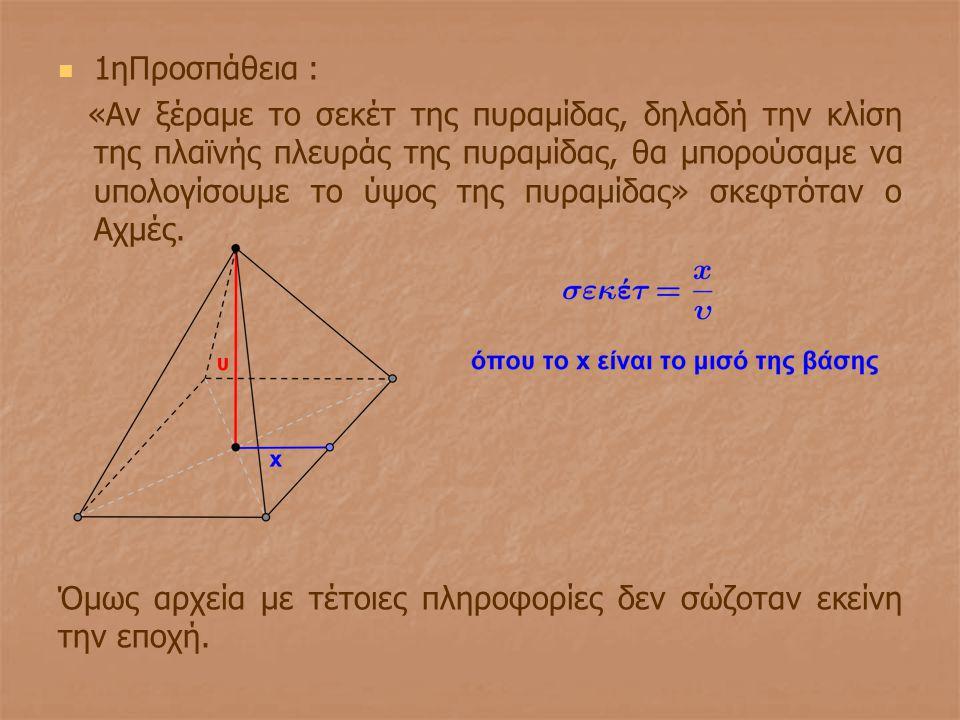 1ηΠροσπάθεια : «Αν ξέραμε το σεκέτ της πυραμίδας, δηλαδή την κλίση της πλαϊνής πλευράς της πυραμίδας, θα μπορούσαμε να υπολογίσουμε το ύψος της πυραμί